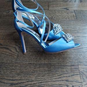 Badgley Mischka blue sandals high heel jeweled